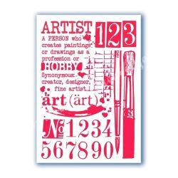 Stencil 102., Írás, számok, bambusz, A4
