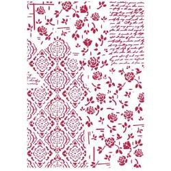 Stencil 74., Rózsák és dekorációk, A4