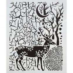 Stencil 71., szarvas, 20x25 cm