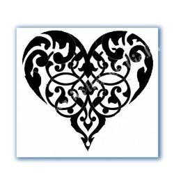 Stencil 110., Ornament szív, 18x18 cm