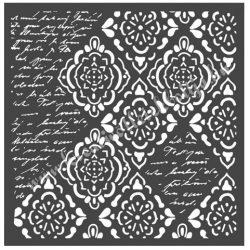 Stencil 29., Tapéták, rombusz, írás, 18x18 cm