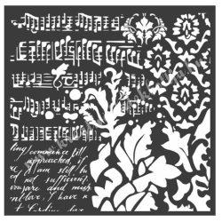 Stencil 28., Tapéták, fantáziák, 18x18 cm