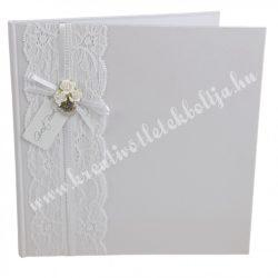 Vendégkönyv, csipkés, rózsás, fehér, 20x1,5x20,5 cm