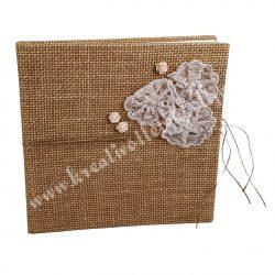 Vendégkönyv, juta borítós, rózsás, 20,5x2x20 cm
