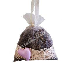Levendulazsák, szárított levendulával, lila szívvel, 9,5x10 cm
