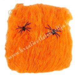 Pókháló, fekete pókokkal, narancssárga, 60 gr