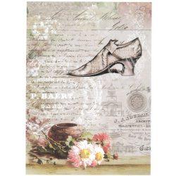 Rizspapír, Cipő, virág, régi kézírás, A4 (R0706)