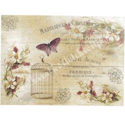 Rizspapír, Pillangók, kalitka, virágok, A4 (R1186)