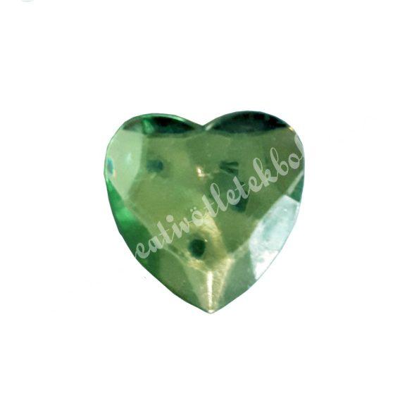 Ragasztható szív, műanyag, zöld
