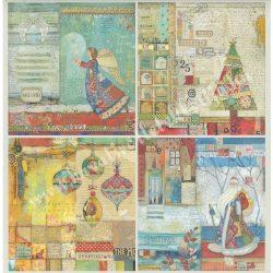 Scrapbook papír, Christmas 4 képpel, 30,5x30,5 cm
