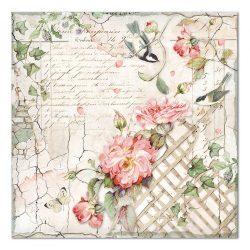 Scrapbook papír, Kerítés kismadárral, 30,5x30,5 cm