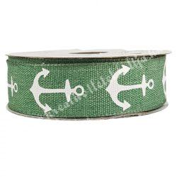 Szalag, horgony mintával, zöld alapon, 2,3 cm