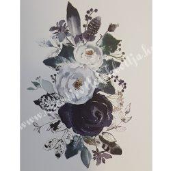 Textiltranszfer, Lila és fehér rózsás, 35x50 cm