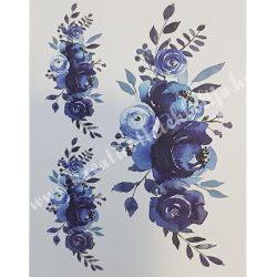 Textiltranszfer, Kék rózsás, 35x50 cm
