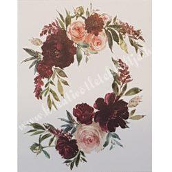 Textiltranszfer, Bordó és rózsaszín rózsák, 25x35 cm