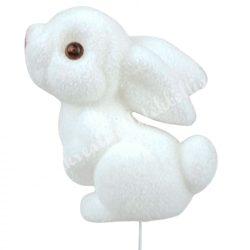 Betűzős, flokkolt hátra lógó fülő, fehér nyuszi, 5x7,5 cm