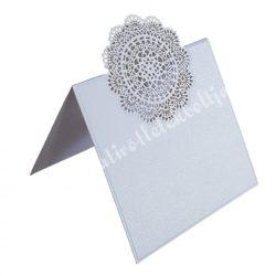 Ültetőkártya, kerek csipkés, 6,3x12 cm, 10 db/csomag