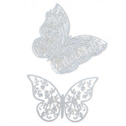 Papír dekoráció, pillangók, 6,5x4 cm, 10 db/csomag