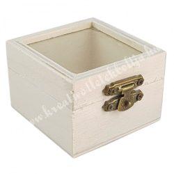 Minidoboz, üvegbetéttel, 6,5x5x6,5 cm