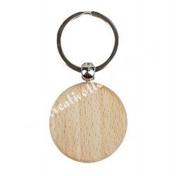 Kulcstartó bükkfából, kör alakú, 3,2x5,5 cm
