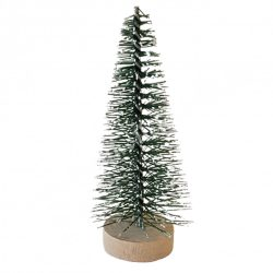 Zöld mini fenyőfa, fa talpon, 6 cm