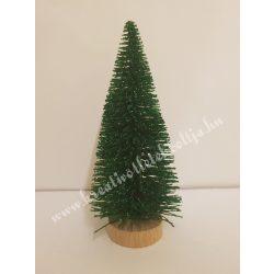 Zöld mini fenyőfa, glitteres, fa talpon, 8 cm