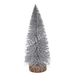 Ezüst mini fenyőfa, glitteres, fa talpon, 8 cm, 10 darab