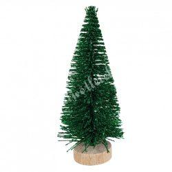 Zöld mini fenyőfa, glitteres, fa talpon, 10 cm