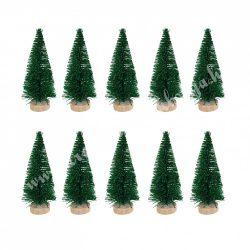 Zöld mini fenyőfa, glitteres, fa talpon, 10 cm, 10 db/csomag