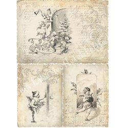 Rizspapír, Retro karácsonyi angyalok, A4 (R0190)