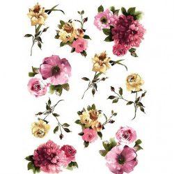 Rizspapír, Tavaszi virágok több méretben, A4 (R0102)