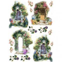 Rizspapír, Ajtók virágoskerttel, A4 (R0461)
