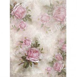 Rizspapír, Vintage hangulat rózsákkal, A4 (R1170)