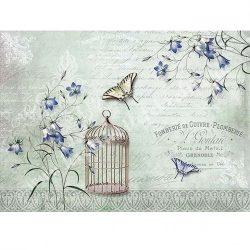 Rizspapír, Kék virágos, pillangós, A4 (R1175)