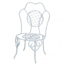 Fém szék, fehér, 6,5x11 cm
