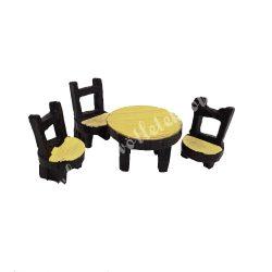 Mini rönk asztal, 3 darab székkel