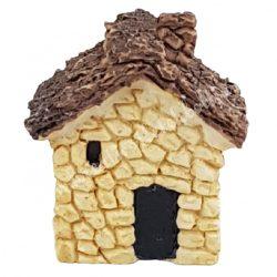 Mini házikó, bézs, nádtetővel, 3,5x3,5 cm