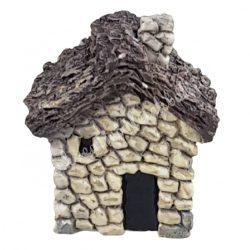 Mini házikó, szürke, nádtetővel, 3,5x3,5 cm