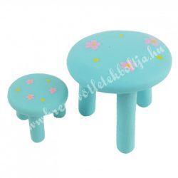 Mini asztal kisszékkel, kék, virágos, 2db/szett