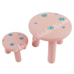 Mini asztal kisszékkel, rózsaszín, virágos, 2db/szett