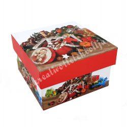 Díszdoboz, karácsonyi, kocka, 9,3x5,5 cm