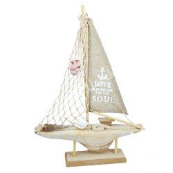 Fa dekoráció, hajó, drapp, barnás kagylóval, 26x35,5 cm