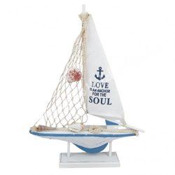 Fa dekoráció, hajó, kék-fehér, 26x35,5 cm