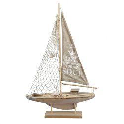 Fa dekoráció, hajó, feherkagylóval, drapp, 32x53 cm