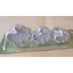 Marcipán és fondant kiszúró, virág bokréta, 3 db/csomag