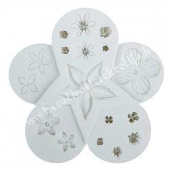 Marcipán, fondant mintázó, szilikon, virágok, 10 cm