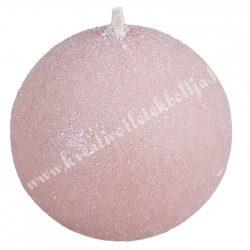 Adventi gömbgyertya, csillámos, rózsaszín, 6 cm
