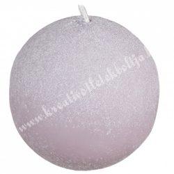 Adventi gömbgyertya, csillámos, világos lila, 6 cm