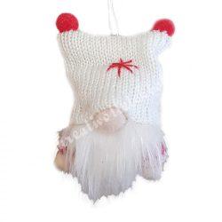 Akasztós dísz, textil manó, fehér, 5,5x10 cm