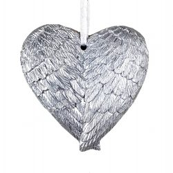 Akasztós dísz, angyalszárny, ezüst, 7 cm
